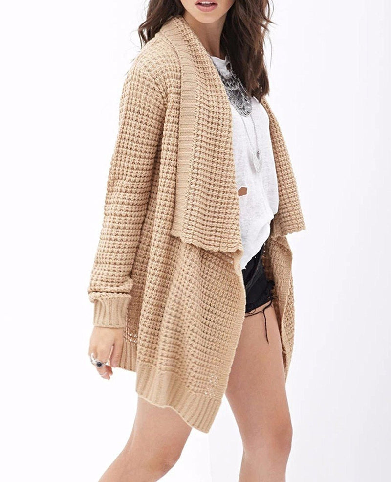 Leisure Hollow-Out Irregular Ladies Knitted Cardigan - Oh Yours Fashion - 4