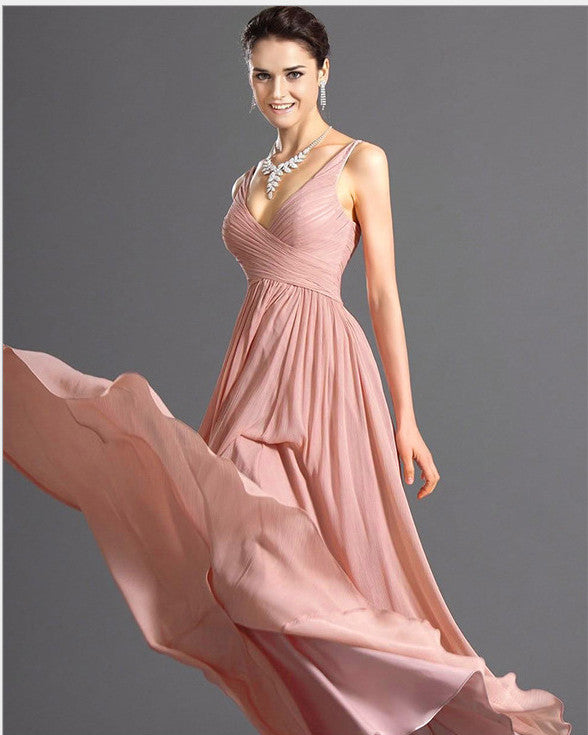 V-neck Backless Solid Spaghetti Strap Chiffon Long Bridesmaid Dress - Oh Yours Fashion - 2