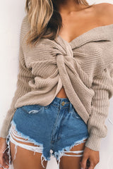 V-neck Pure Color Long Sleeves Knit Wear Sweater