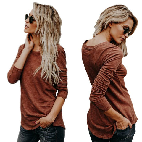 Slim Scoop Pure Color Long Sleeves Cotton T-shirt