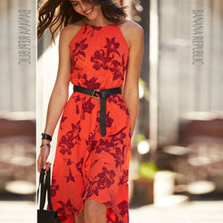 Floral O-neck Sleeveless Knee-length Dress - Oh Yours Fashion - 1