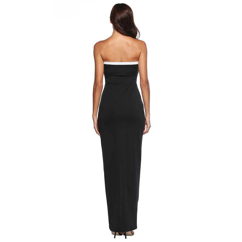 Strapless Irregular Spaghetti Slim Elastic Long Club Dress