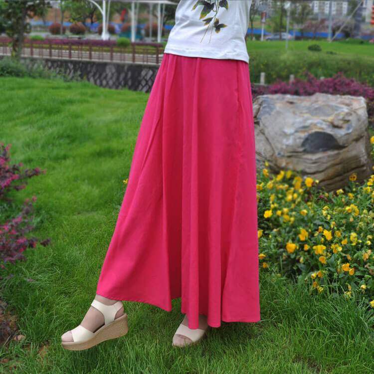 Bohemian Flared Pleated Pure Color Slim Floor Maxi Skirt