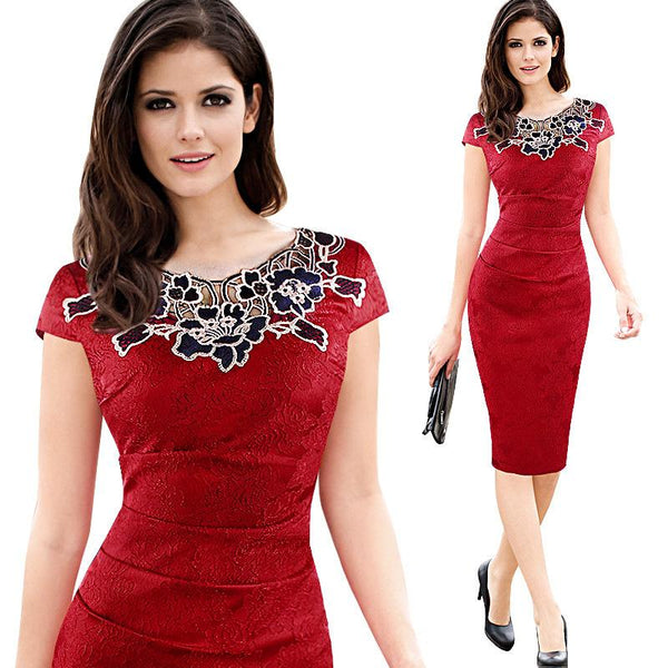 New Summer Short Sleeve Pencil Lace Dress