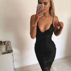 Sequins Spaghetti Strap Stripe Bodycon Knee-Length Dress