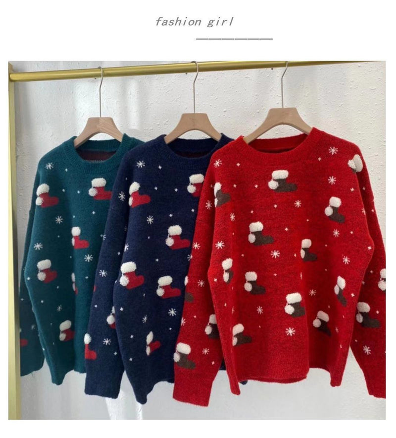Loose Christmas Print Sweater