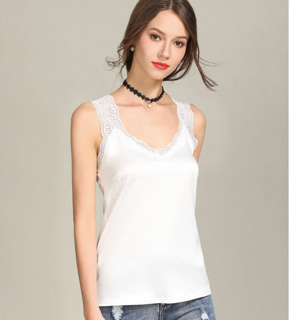 Scoop Sleeveless Pure Color Casual Loose Lace Vest