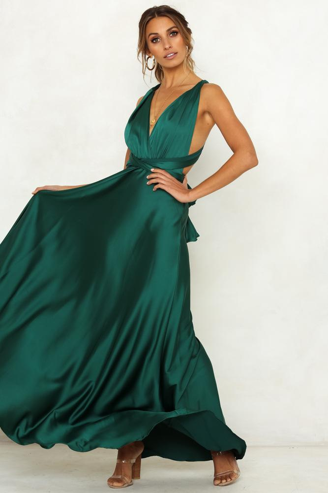 Spaghetti Strap Deep V-neck Hollow Out Women Long Green Dress