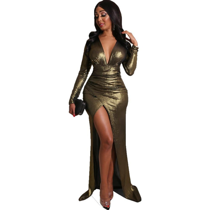 Long Sleeve Deep V Neck Gilded Irregular Long Party Dress