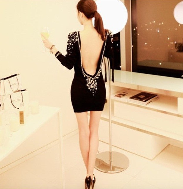 Sexy  Boutique Backless Pearl  Dress