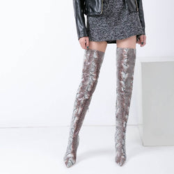 Thigh High Stiletto Heel Snakeskin Boots