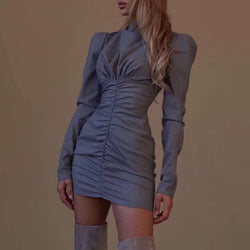 Turtleneck Long Sleeve Ruched Short Dress