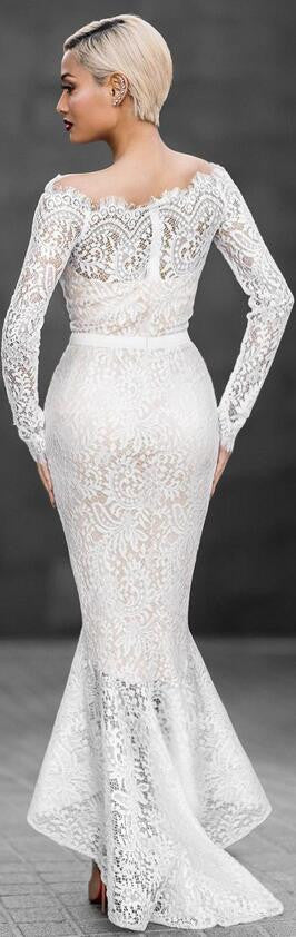 Beautiful White Off Shoulder Lace Mermaid Dress - Oh Yours Fashion - 2
