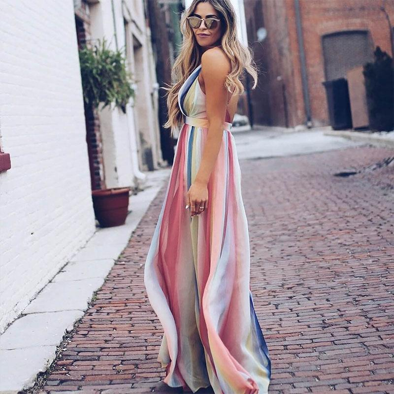 Boho Deep V Neck Backless Maxi Dress
