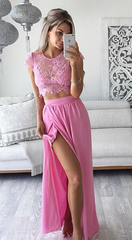 Three Pieces Lace Crop Top Slit Long Skirt Dress Set - Oh Yours Fashion - 2