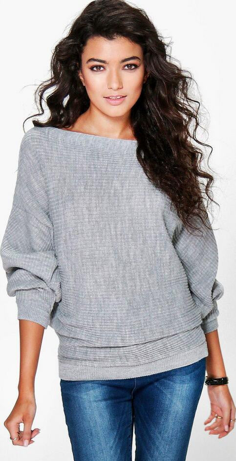 Fashion Loose Bat Sleeve Boat Neck Knit Women's Sweater - Oh Yours Fashion - 1