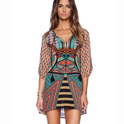 Retro Print V-neck Half Sleeve Short Dress - Oh Yours Fashion - 1