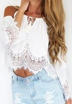 Off-shoulder Lace Patchwork Crop Top Long Sleeve Chiffon Blouse - Oh Yours Fashion - 2