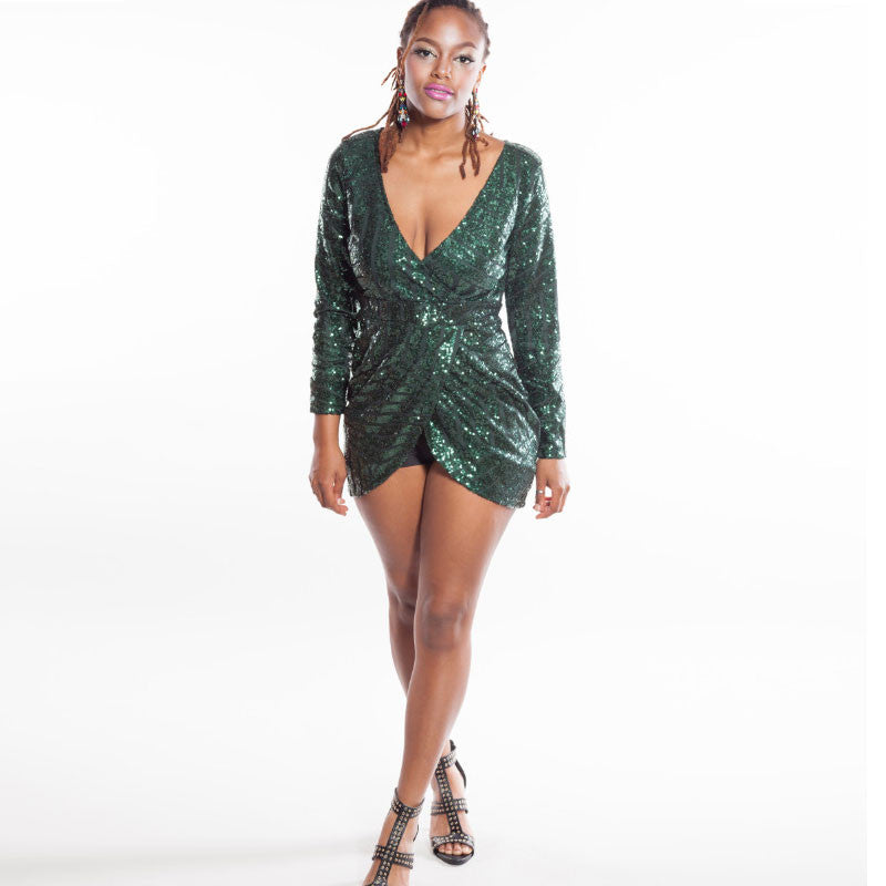 Deep V Neck Sequins Irregular Short Bodycon Dress - Oh Yours Fashion - 1