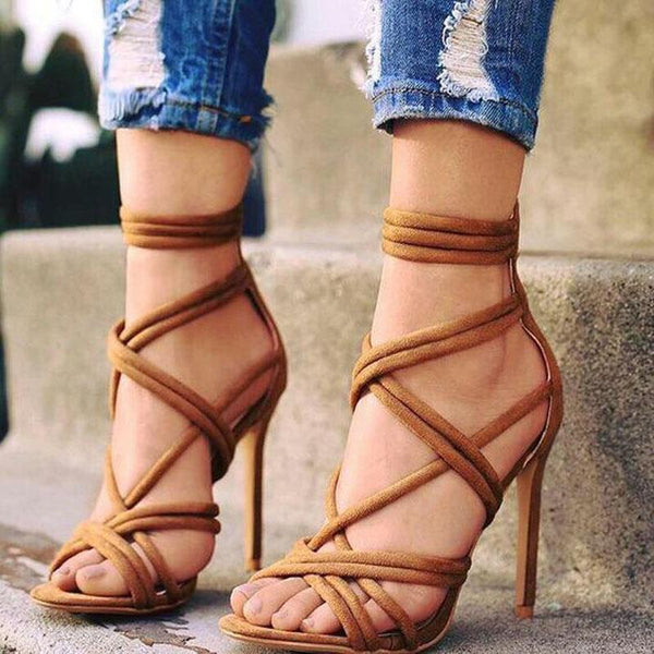 Simple Brown Cutout Open Toe High Heel Sandals