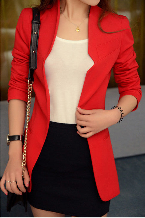 Shoulder Pads Long Sleeves Slim Short OL Blazer - Oh Yours Fashion - 2