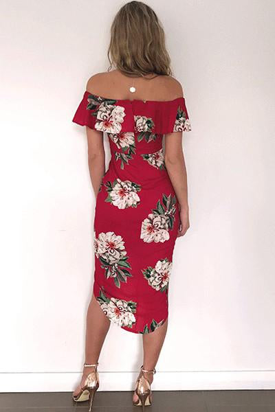 Floral Print Ruffle Off Shoulder Boat Neckline Irregular Short Dress