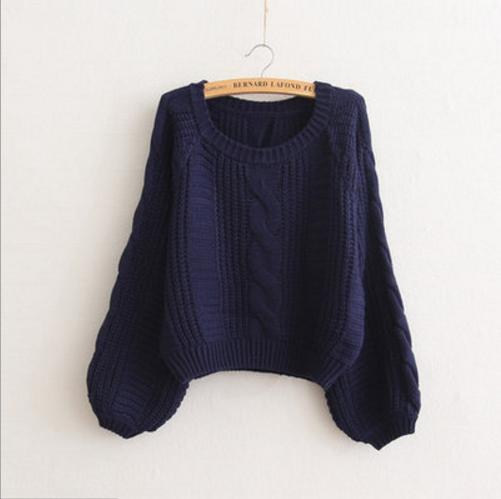 Cable Sleeve Coarse Yam Pure Color Pullover Sweater - Oh Yours Fashion - 9
