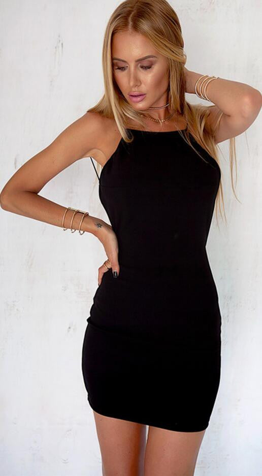 Sexy Pure Color Backless Short Bodycon Little Black Dress - Oh Yours Fashion - 2