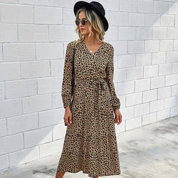 OL Printed Tie Waist Midi Dress