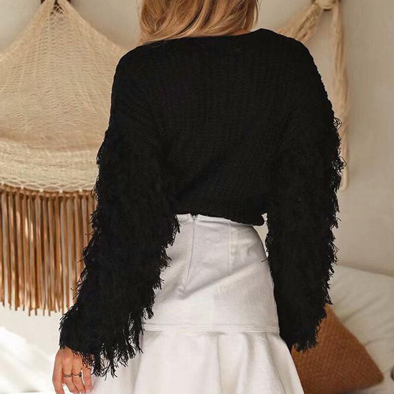 Loose Fringed Sleeve Crochet Pullover Sweater
