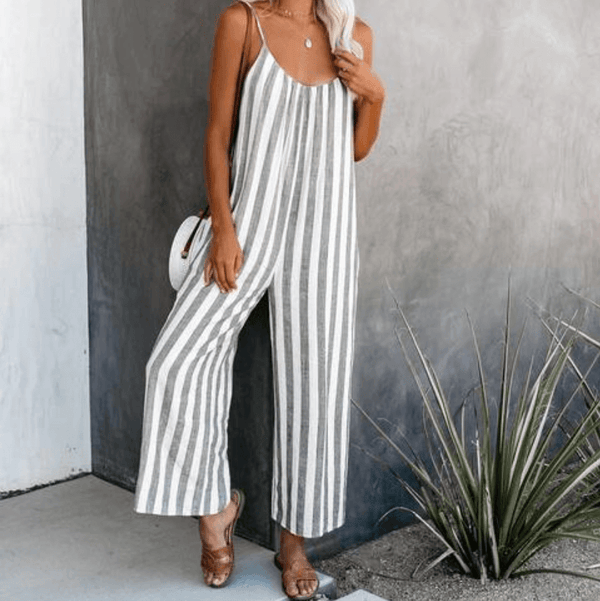Casual Stripes Loose Wide Leg Sleeveless Jumpsuits