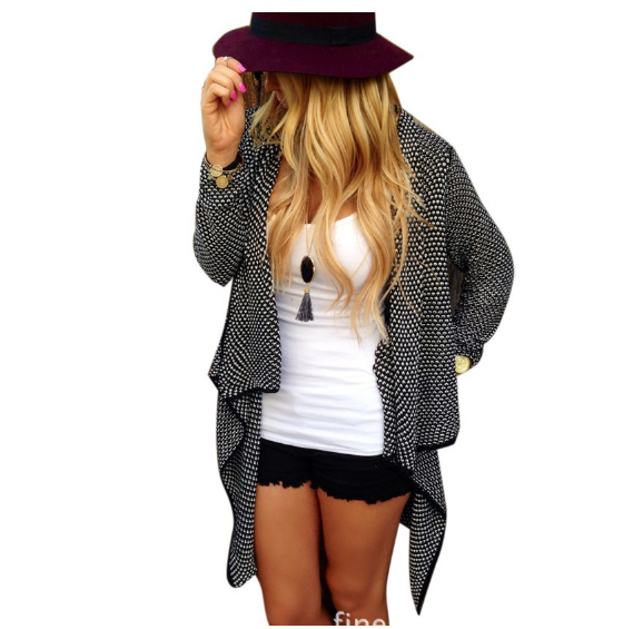 Cardigan Knit Asymmetric Lapel Loose Sweater - Oh Yours Fashion - 1