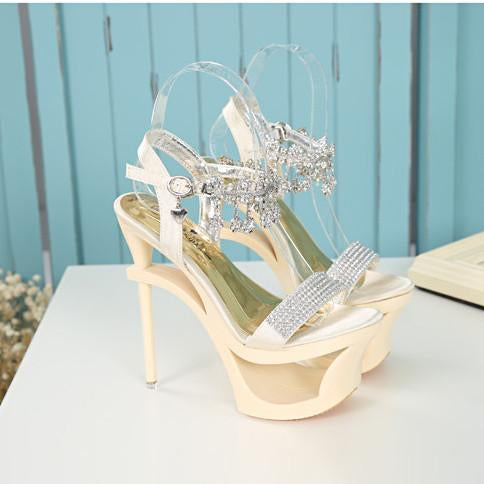 Shinning Rhinestone Cut Out High Platform Stiletto Heel Sandals - MeetYoursFashion - 4