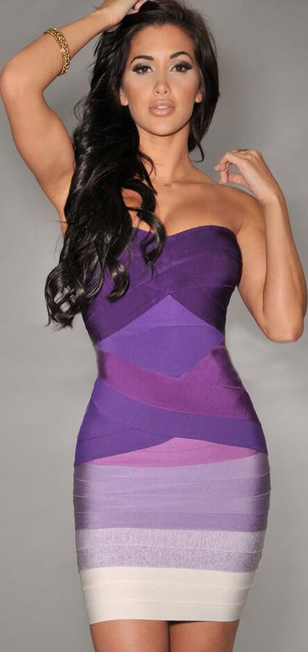 Sexy Strapless Contrast Color Back Zipper Bodycon Short Dress - Oh Yours Fashion - 2