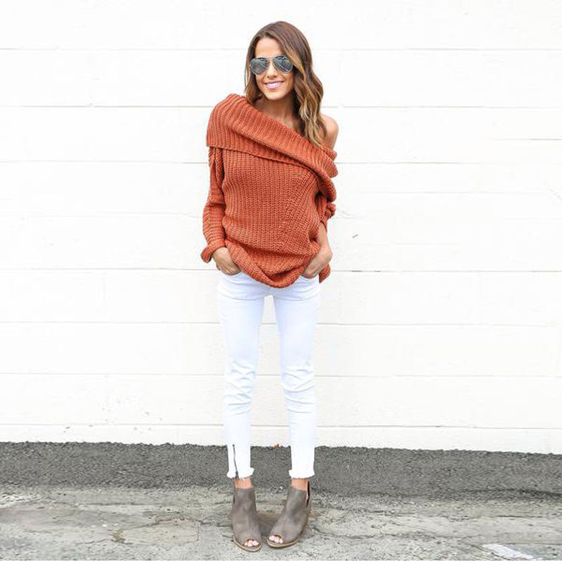 Turtle Neck Knitting Long Sleeves Loose Sweater - Oh Yours Fashion - 4