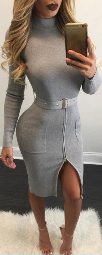 Sexy Knit High Neck Long Sleeve Bodycon Knee-length Belt Dress - Oh Yours Fashion - 2