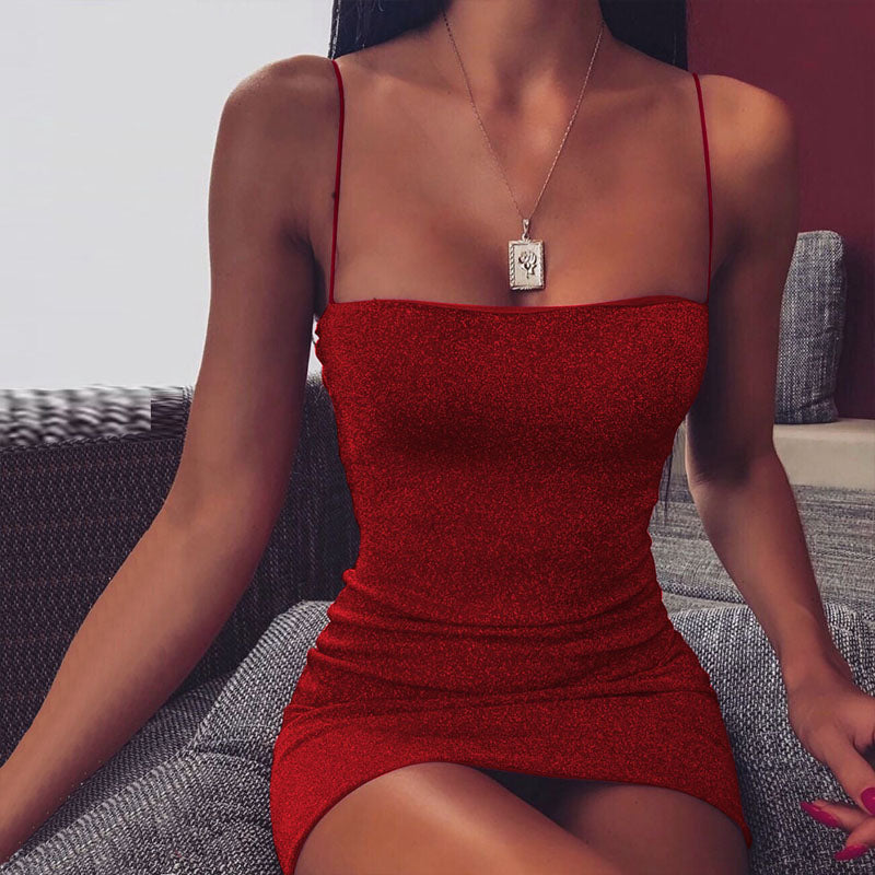 Spaghetti Strap Sparkling Bodycon Dress
