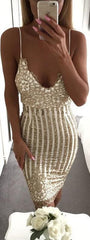 Sequins Spaghetti Strap Stripe Bodycon Knee-Length Dress - Oh Yours Fashion - 2