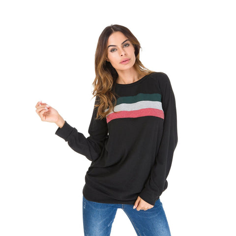 Patchwork Loose Scoop Long Sleeves Pullover T-shirt