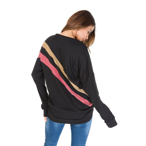 Scoop Patchwork Long Sleeves Loose T-shirt