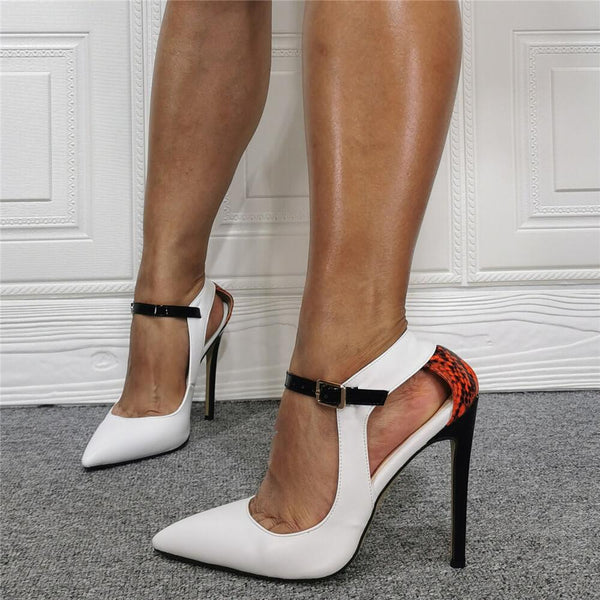 White PU Point Toe Ankle Buckle High Heel Sandals