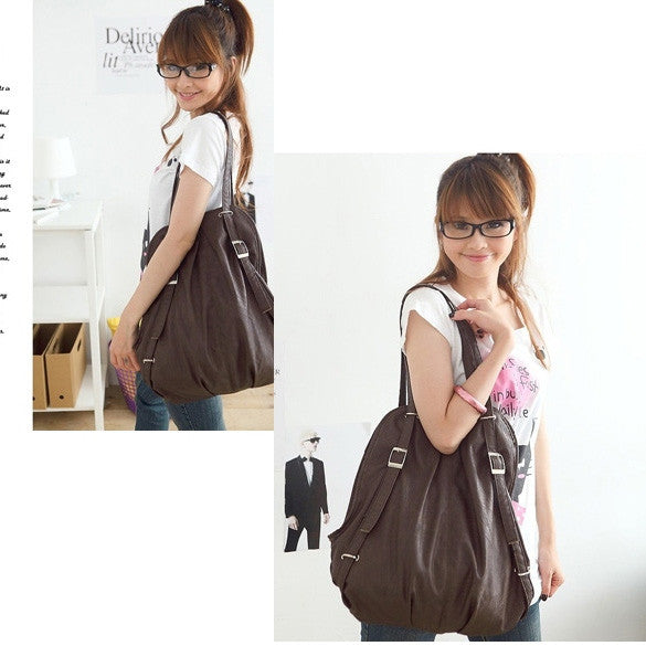 New Korean Style Fashion lady 2 Ways PU Leather Backpack Purse Handbag Shoulders Bag - Oh Yours Fashion - 1