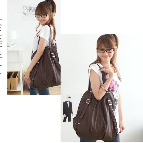 New Korean Style Fashion lady 2 Ways PU Leather Backpack Purse Handbag Shoulders Bag