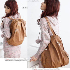New Korean Style Fashion lady 2 Ways PU Leather Backpack Purse Handbag Shoulders Bag - Oh Yours Fashion - 2