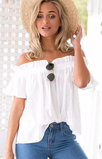 Strapless Falbala Short Sleeves Pure Color Blouse - Oh Yours Fashion - 2
