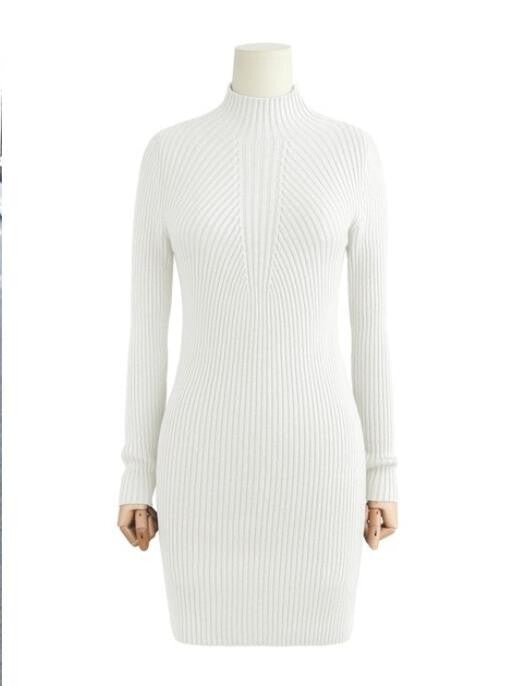 High Neck Bodycon Knitting Sweater Dress - Oh Yours Fashion - 3