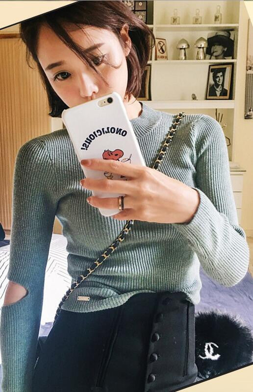 Fashon Long Sleeve High Neck Slit Long Sleeve Slim Knit Sweater - Oh Yours Fashion - 2