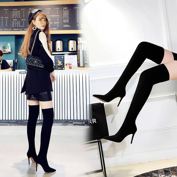 Black Plain Suede Point Toe High Heel Over Knee Boots