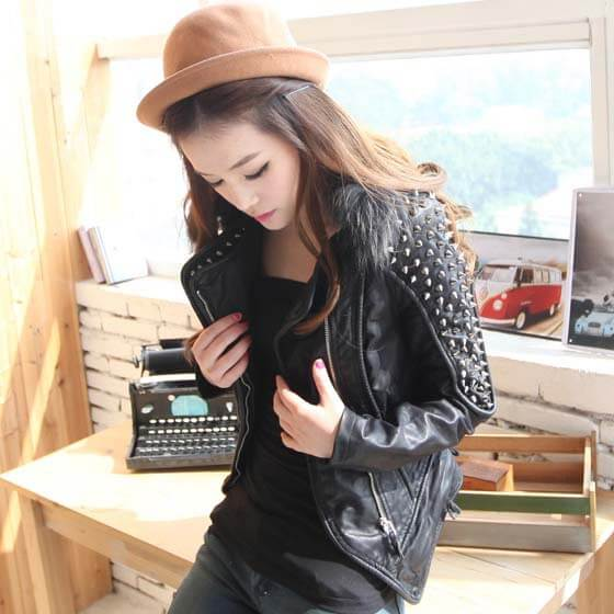 Rivet Shoulder Pad Moto Jacket