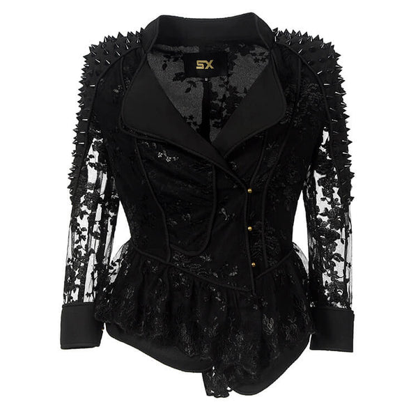 Lace Patchwork Moto Jacket